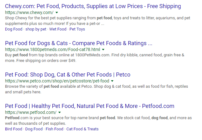 How to write meta descriptions Pet Food Examples