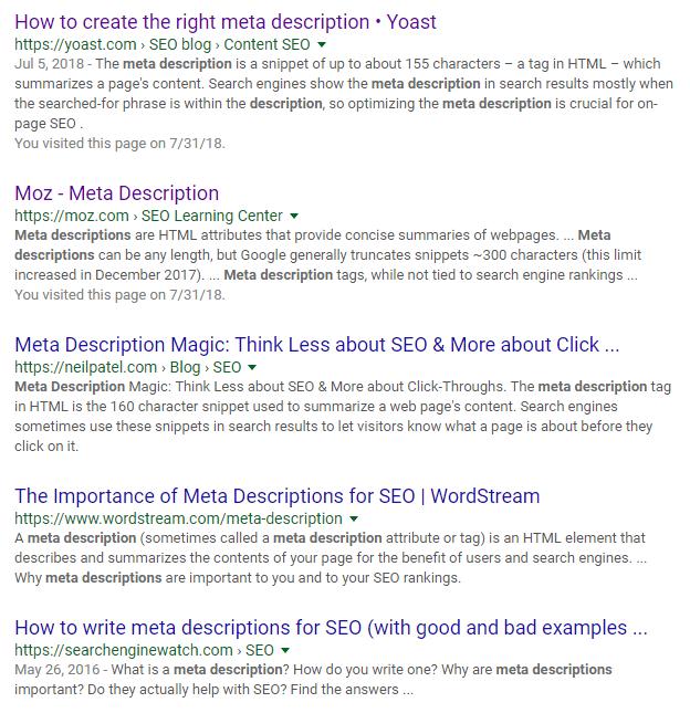 How to write meta descriptions examples
