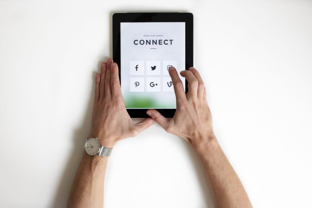Connect Via Social Media Screen